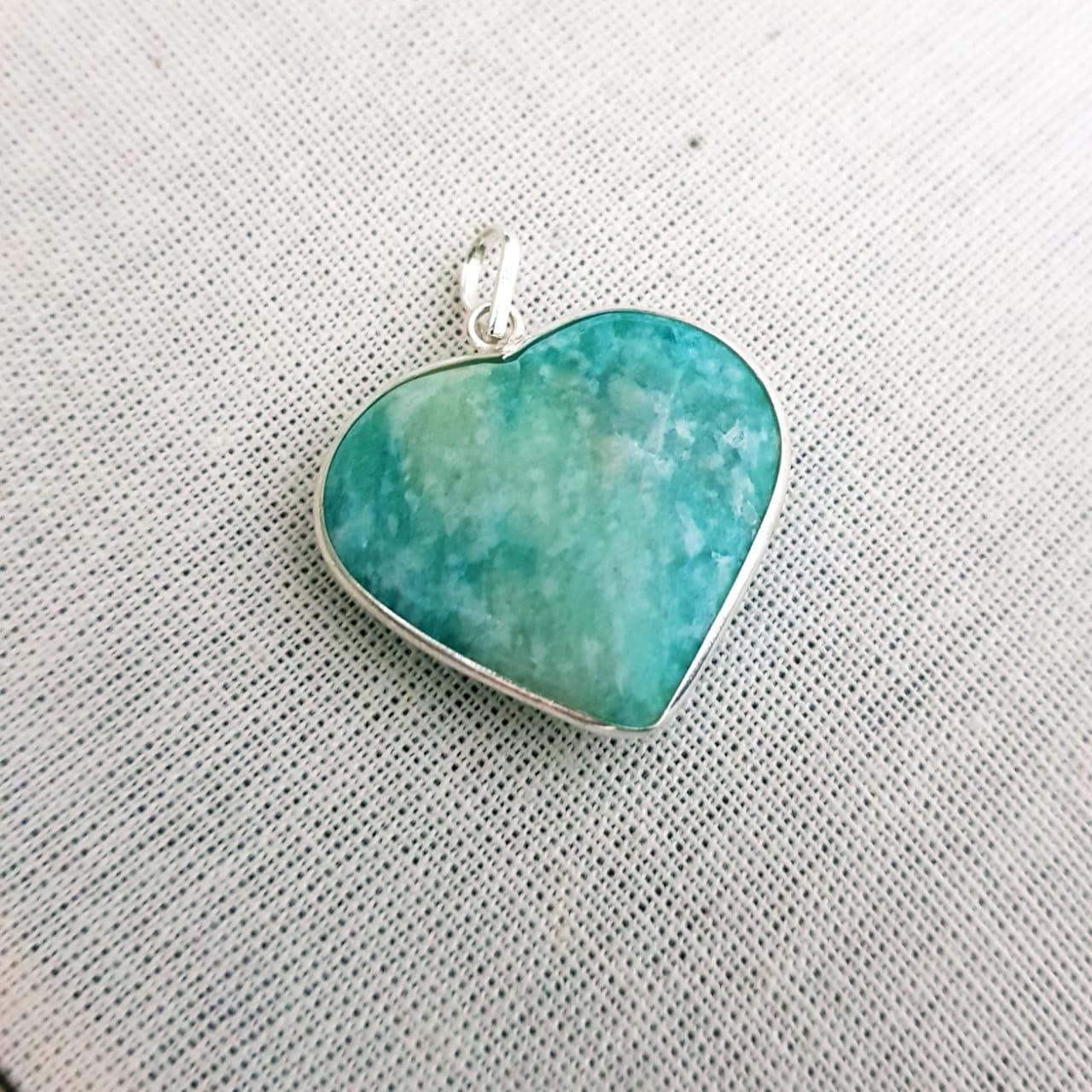 Pingente de Prata Coração de Pedras Naturais