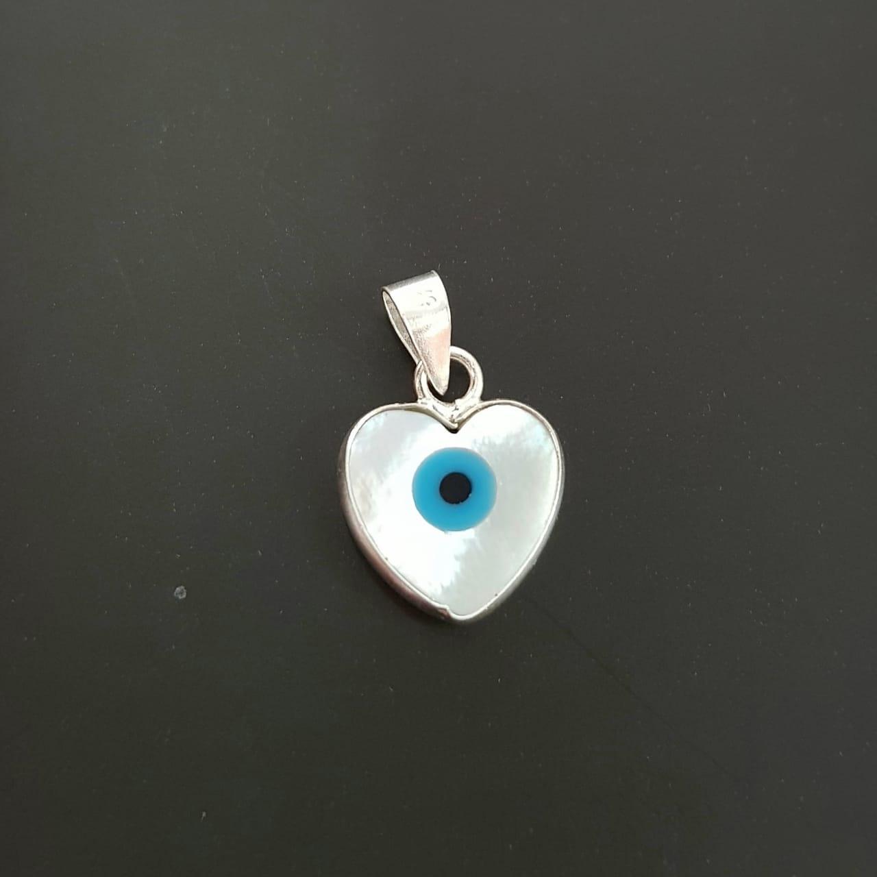 Pingente de Prata Coração Olho Grego