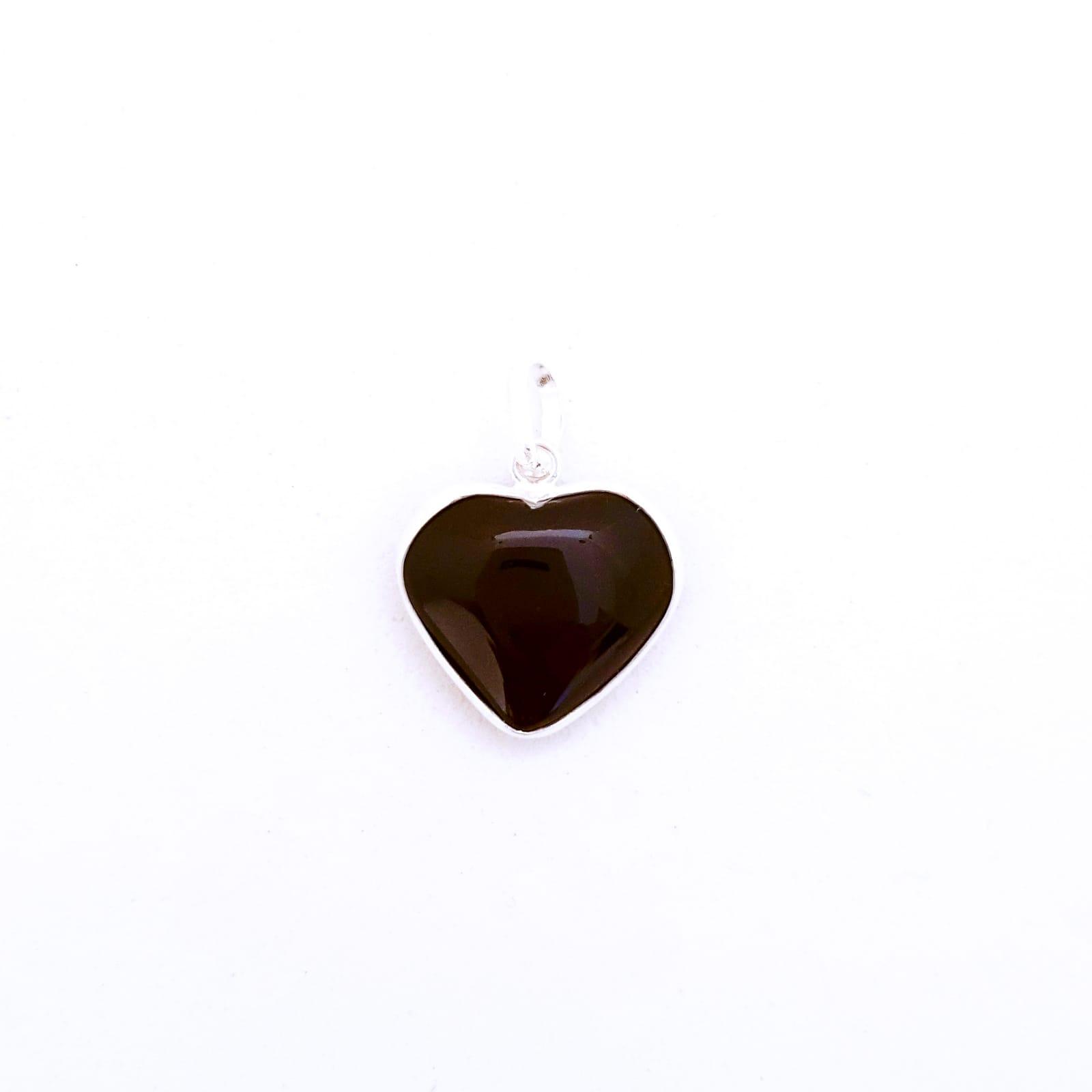 Pingente de Prata Coraçãozinho Obsidiana Negra