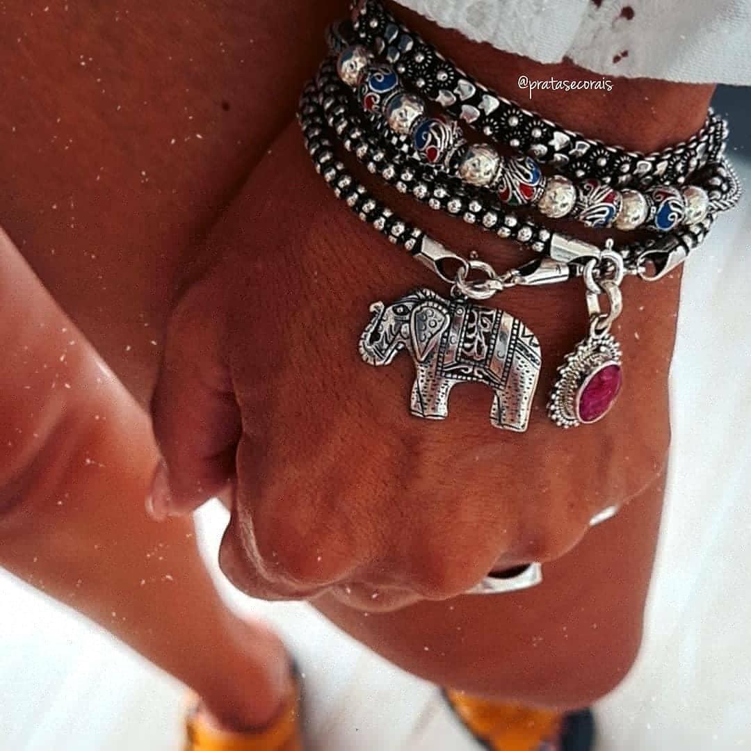 Pingente de Prata Elefante Indiano