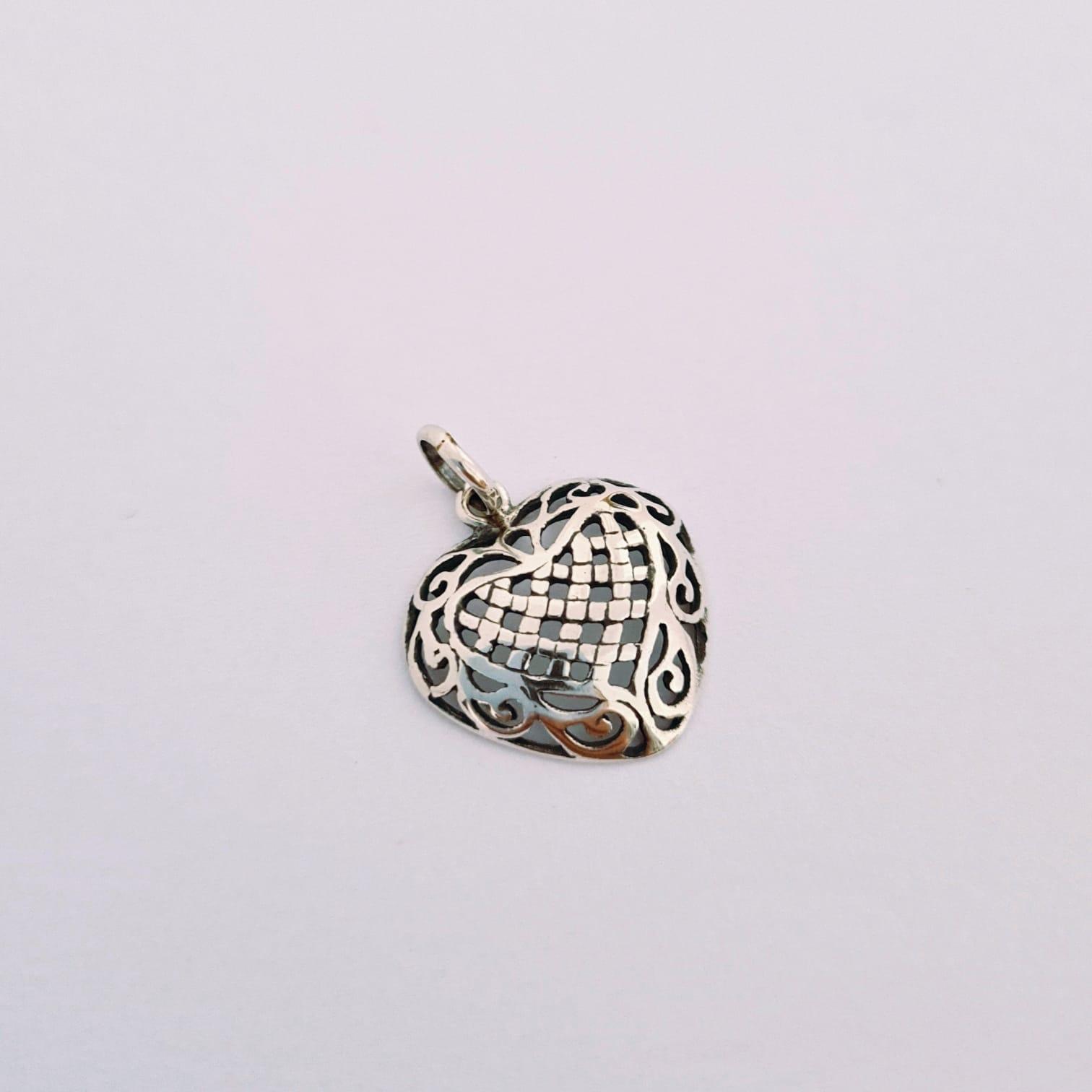Pingente de Prata Indiano Coração Vazado Pequeno