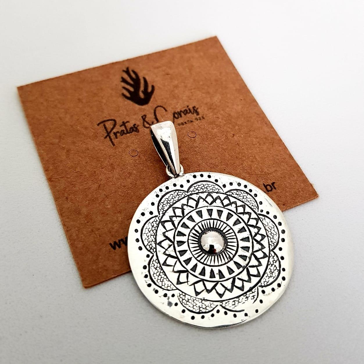 Pingente de Prata Mandala Flor