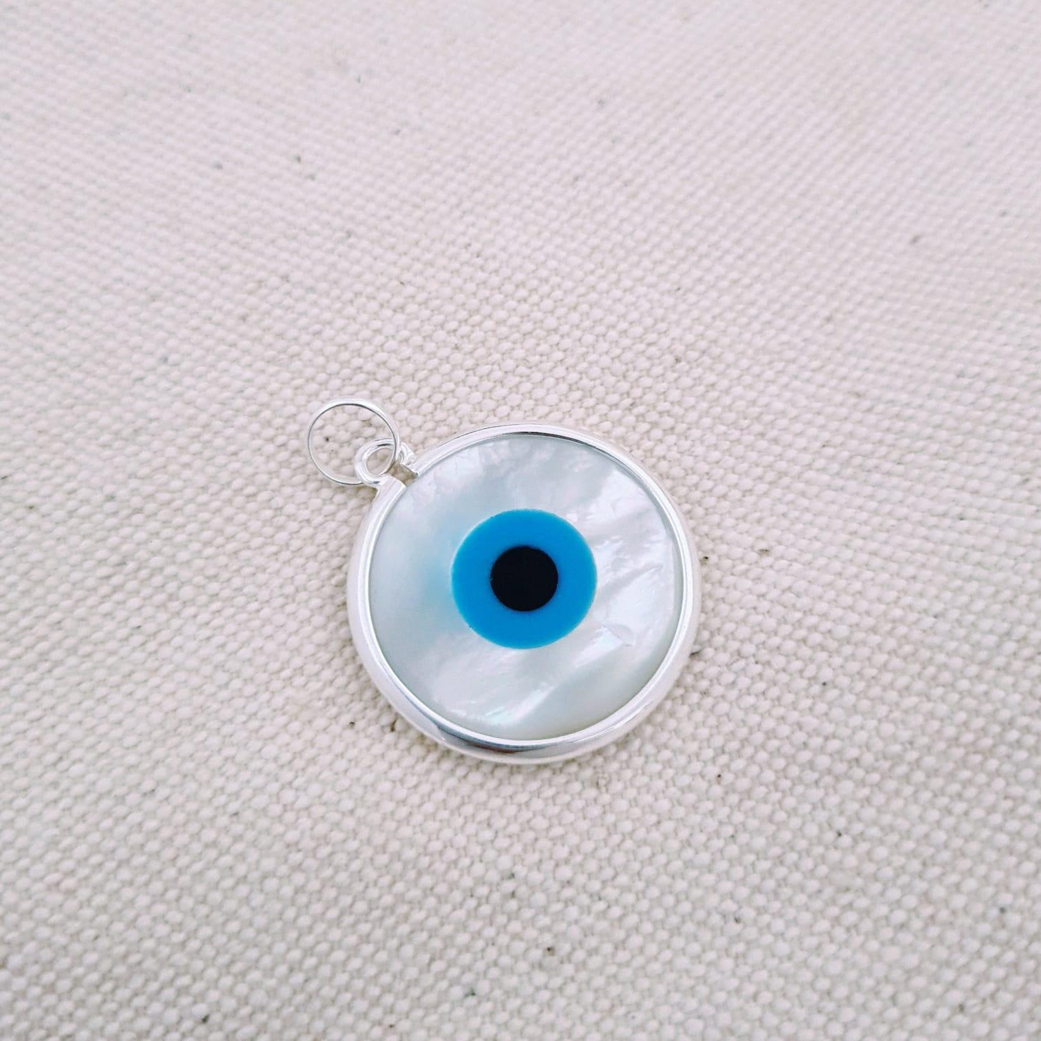 Pingente de Prata Mandala Olho Grego Madrepérola