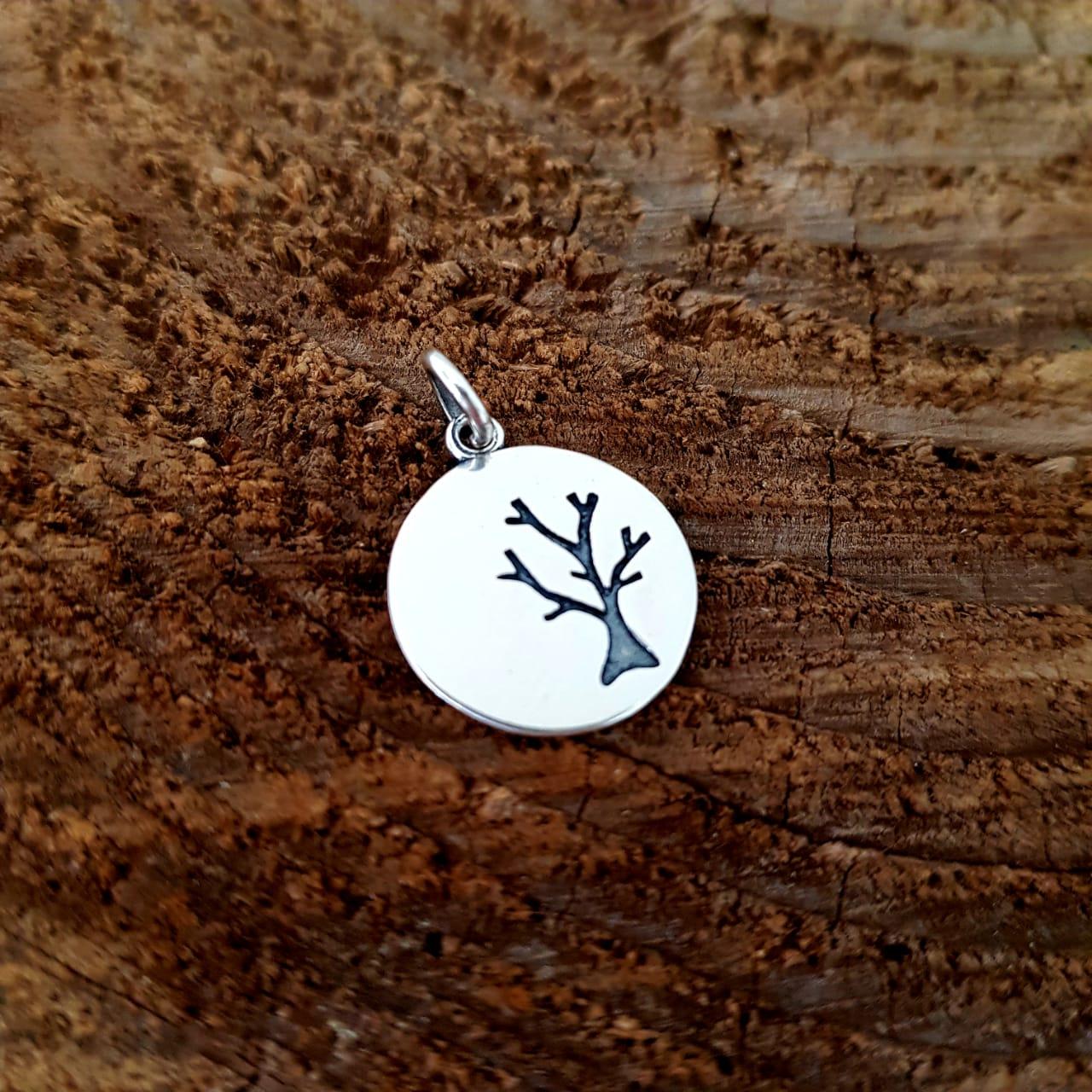 Pingente de Prata Medalhinha Árvore