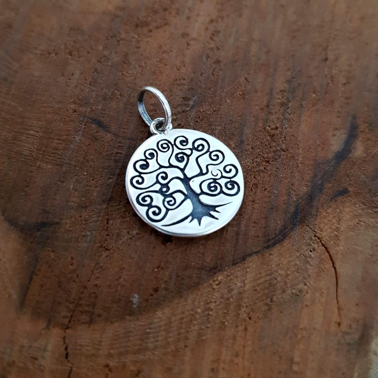 Pingente de Prata Medalhinha Árvore da Vida