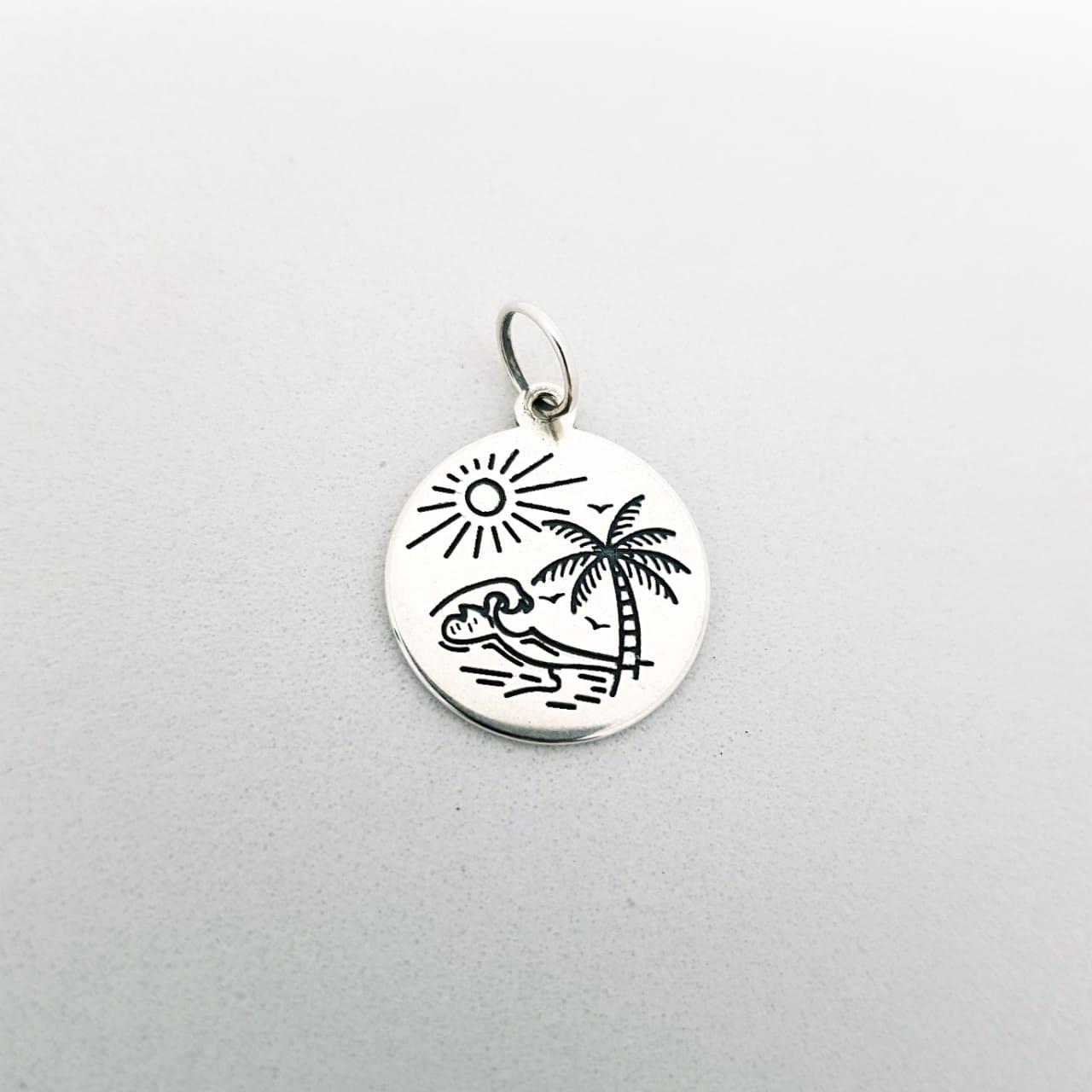 Pingente de Prata Medalhinha Praia