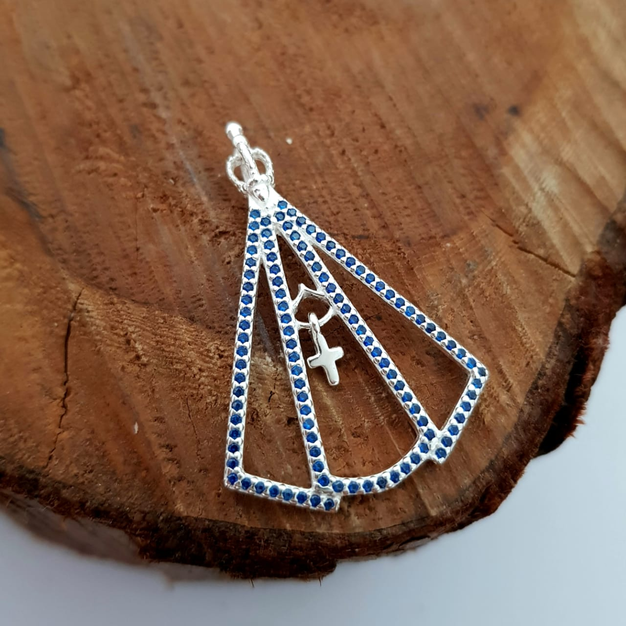 Pingente de Prata Nossa Senhora Zircônia Branca e Azul