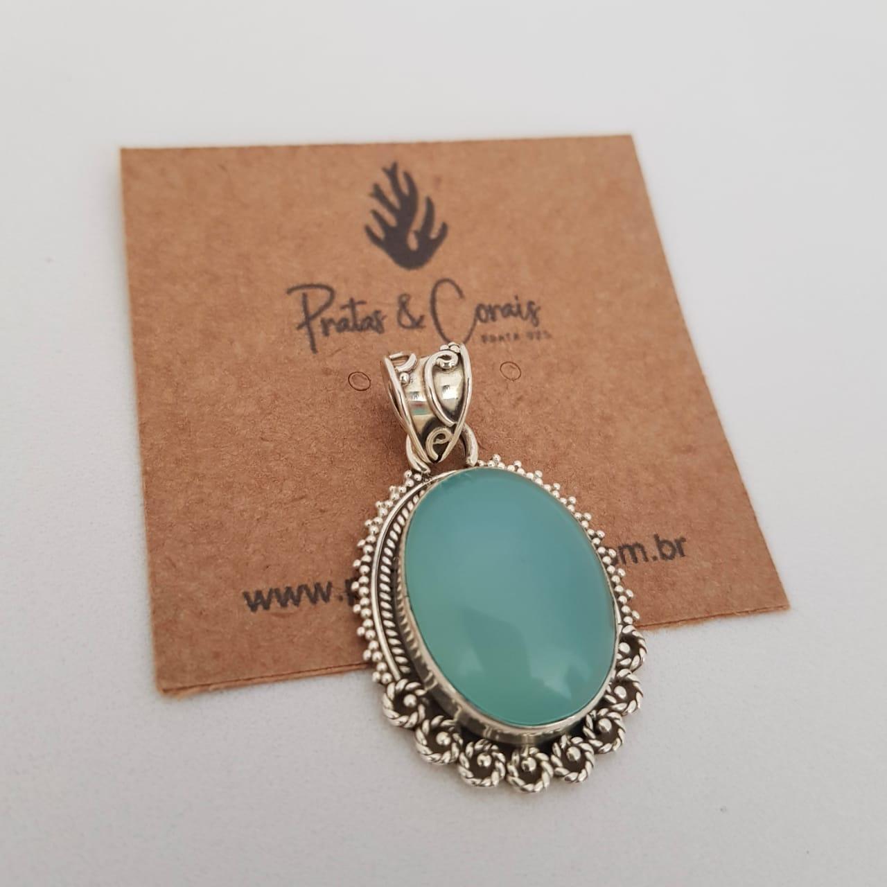 Pingente de Prata Oval Calcedônia Azul
