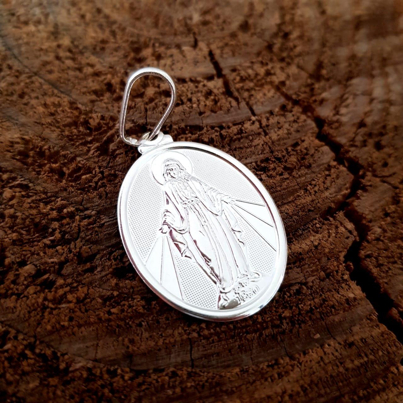 Pingente de Prata Oval Nossa Senhora das Graças  Ródio Branco
