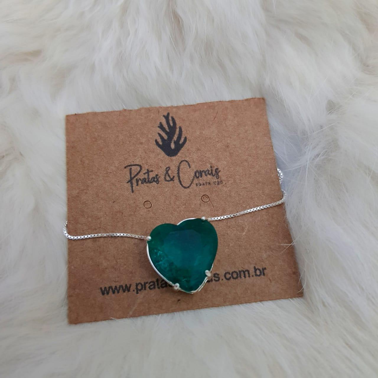 Pingente de Prata Pedra Zircônia Coração - Cores Diversas