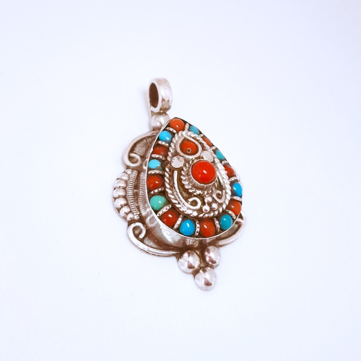 Pingente de Prata Peruano Gota com Pedras