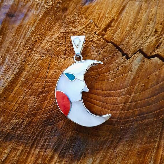 Pingente de Prata Peruano Lua