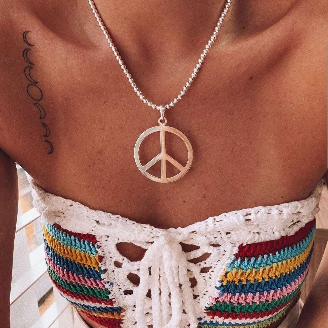 Pingente de Prata Símbolo da Paz