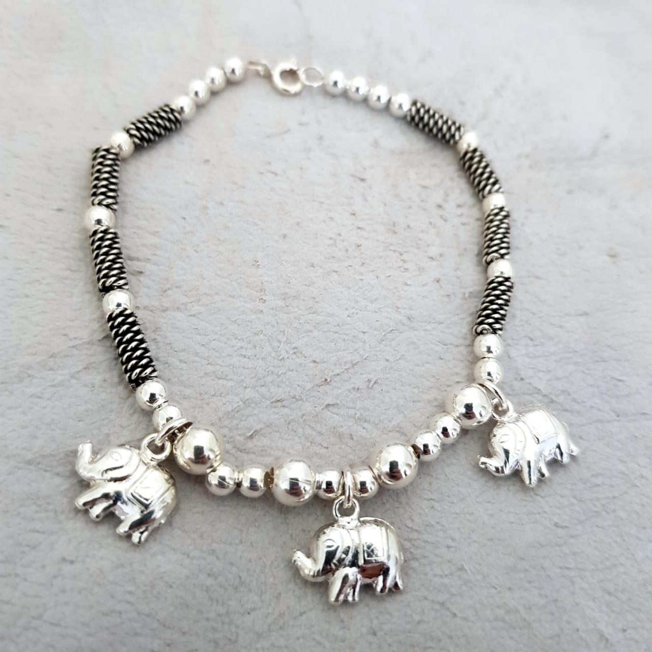 Pulseira de Prata Bali Tramas com Fila de Elefantes