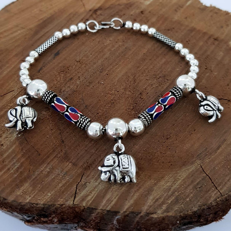 Pulseira de Prata Cloisonné com Elefantes