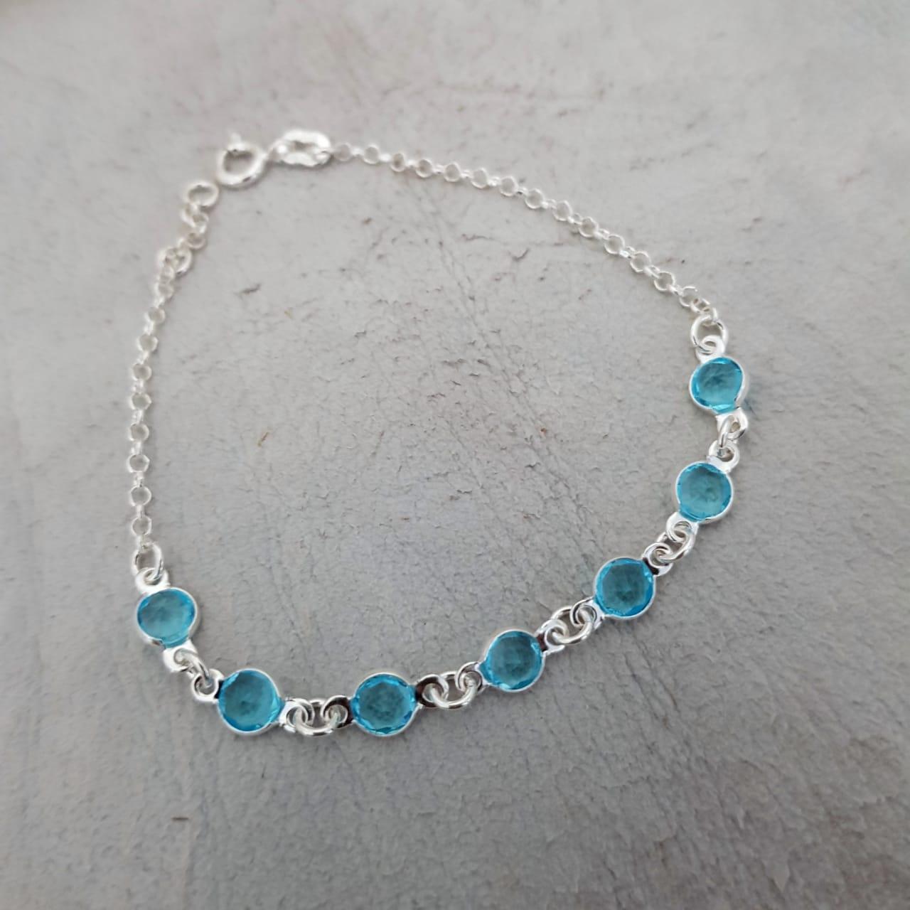Pulseira de Prata Zircônia Azul