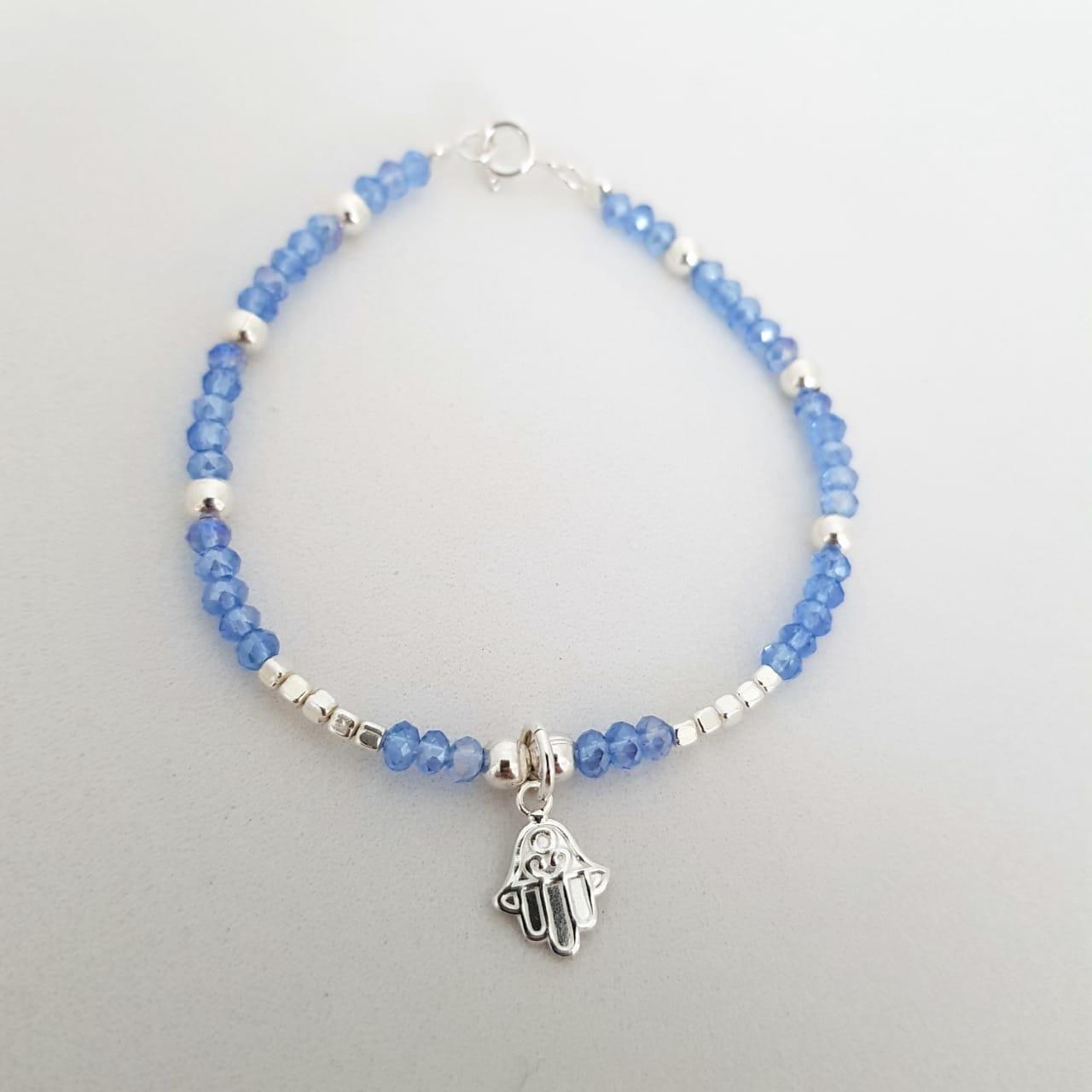 Pulseira de Prata Cristal Azul com Hamsá