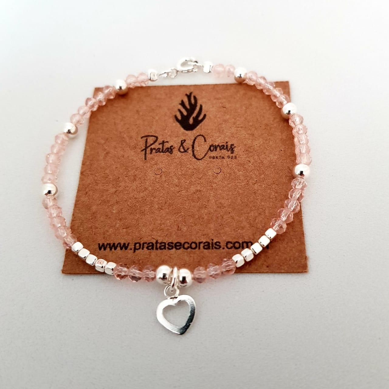 Pulseira de Prata Cristal Rosa com Penduricalho Coração