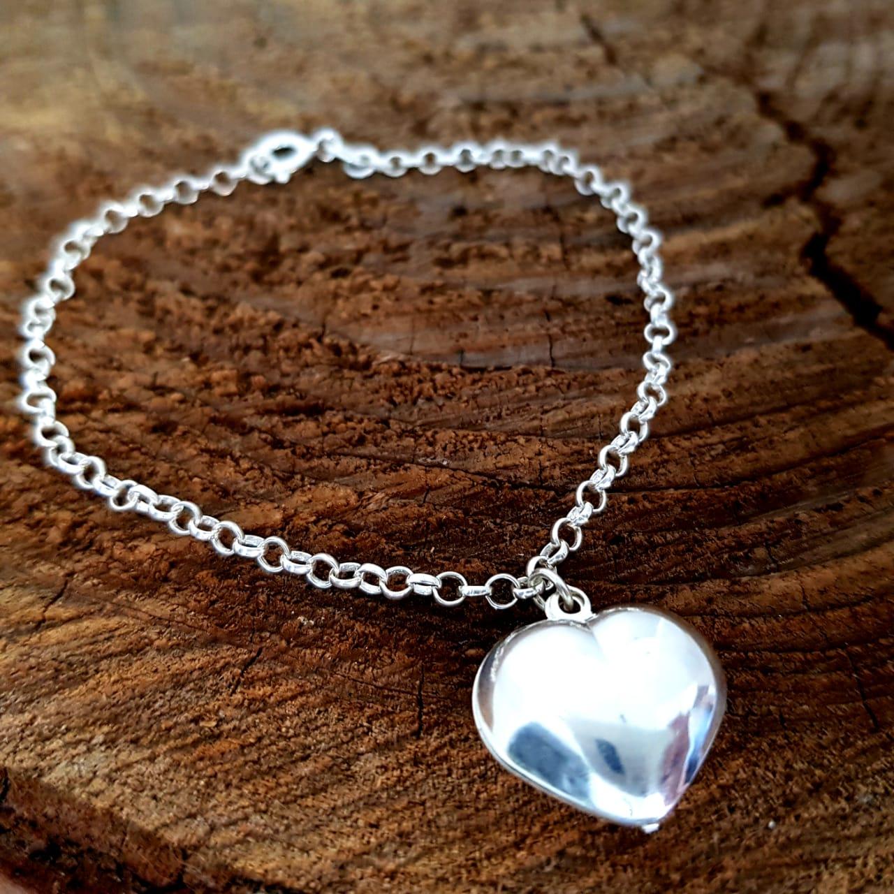 Pulseira de Prata Elos de Aros com Penduricalho Coração