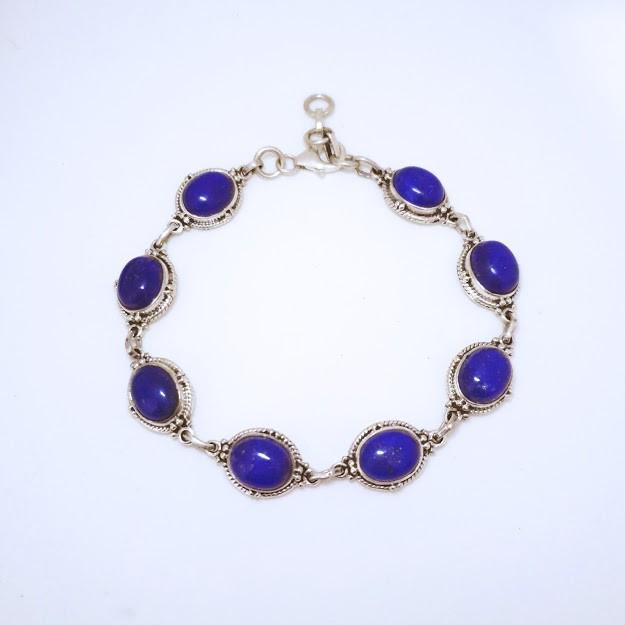 Pulseira de Prata Indiana Lapis Lazuli