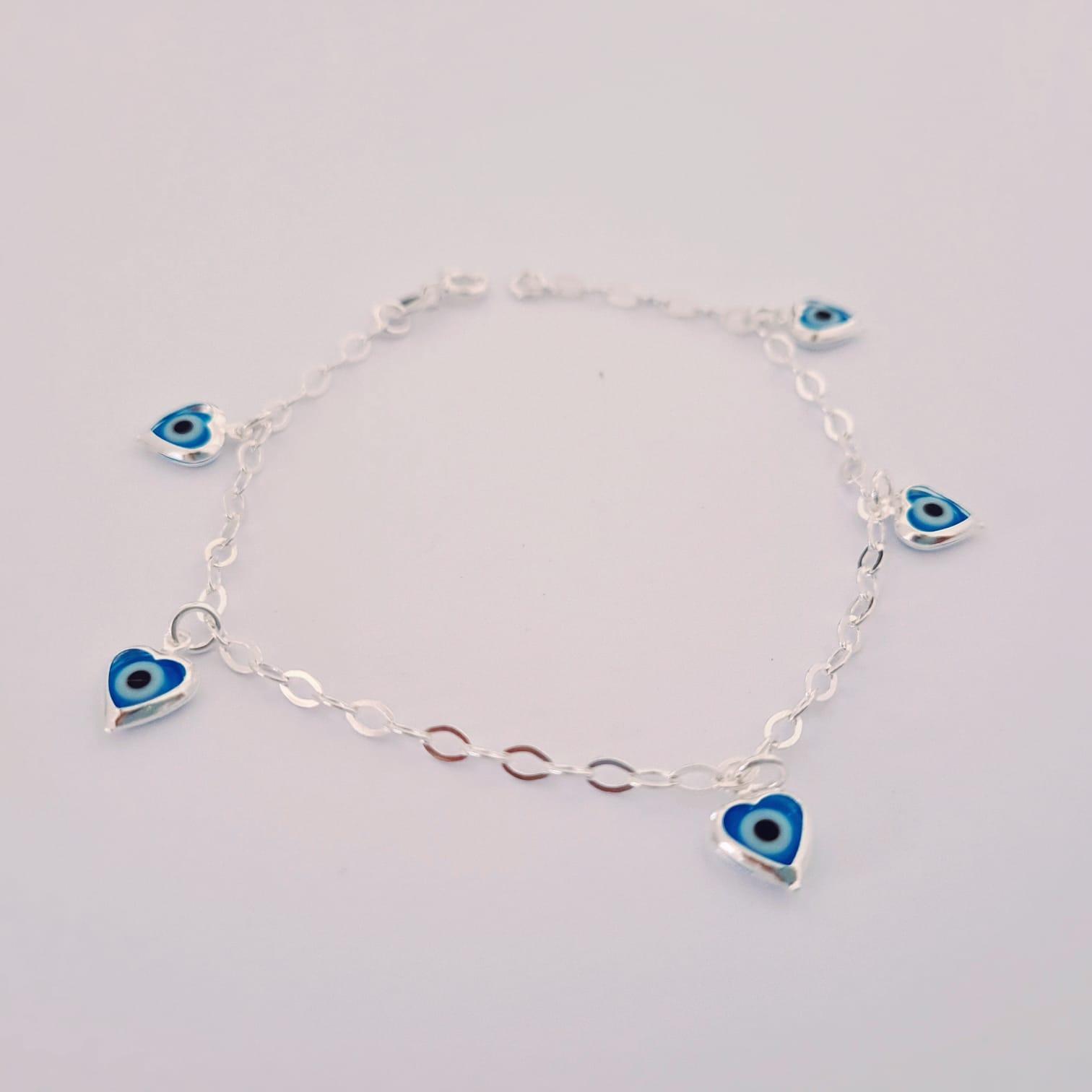 Pulseira de Prata Penduricalho Coração Olho Grego