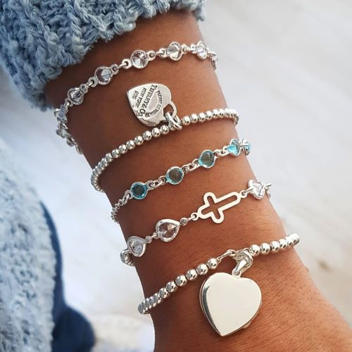 Pulseira de Prata Tiffany Bolinhas