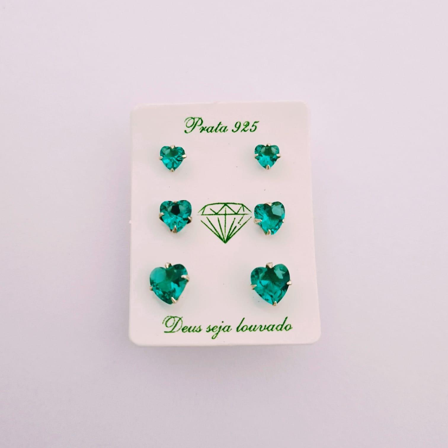 Trio Brinco de Prata Coração Zircônia Verde