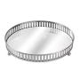 Bandeja Decorativa Redonda Prata com Espelho - 17,5 cm ou 20cm
