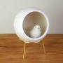 Cachepô Vaso Oval de Cerâmica Com Suporte