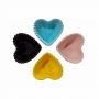 Mini Bowl de coração com borda em poá - 3,5x7,5x7cm