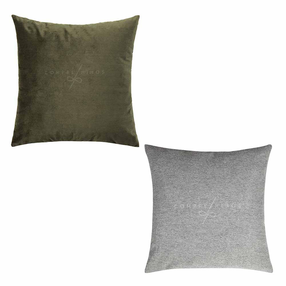 Almofadas Veludo e Linho -Verde Musgo e Grey 50x50cm