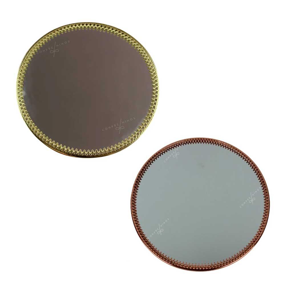 Bandeja Decorativa Redonda Com Espelho - Dourada ou Rose Gold - P e G