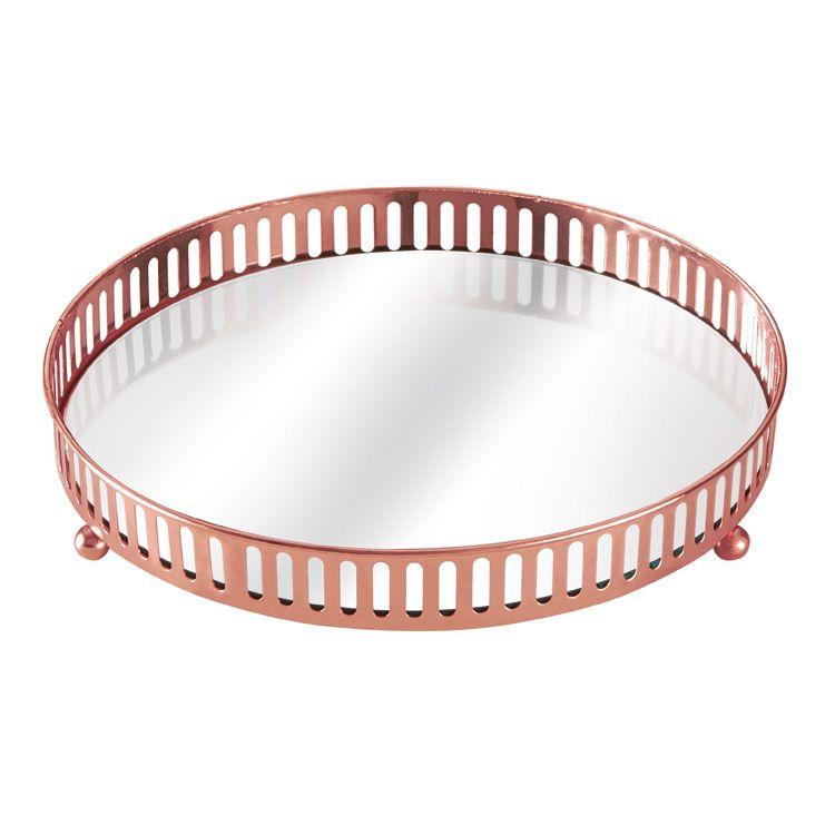 Bandeja Decorativa Redonda Rose Gold com Espelho - 20 cm