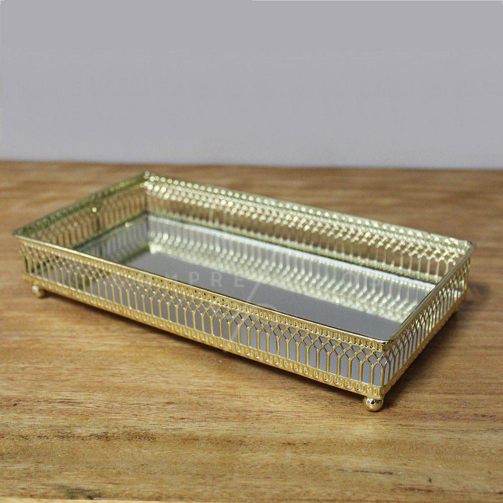 Bandeja Decorativa Retangular Dourada com Espelho - 12,5x24cm