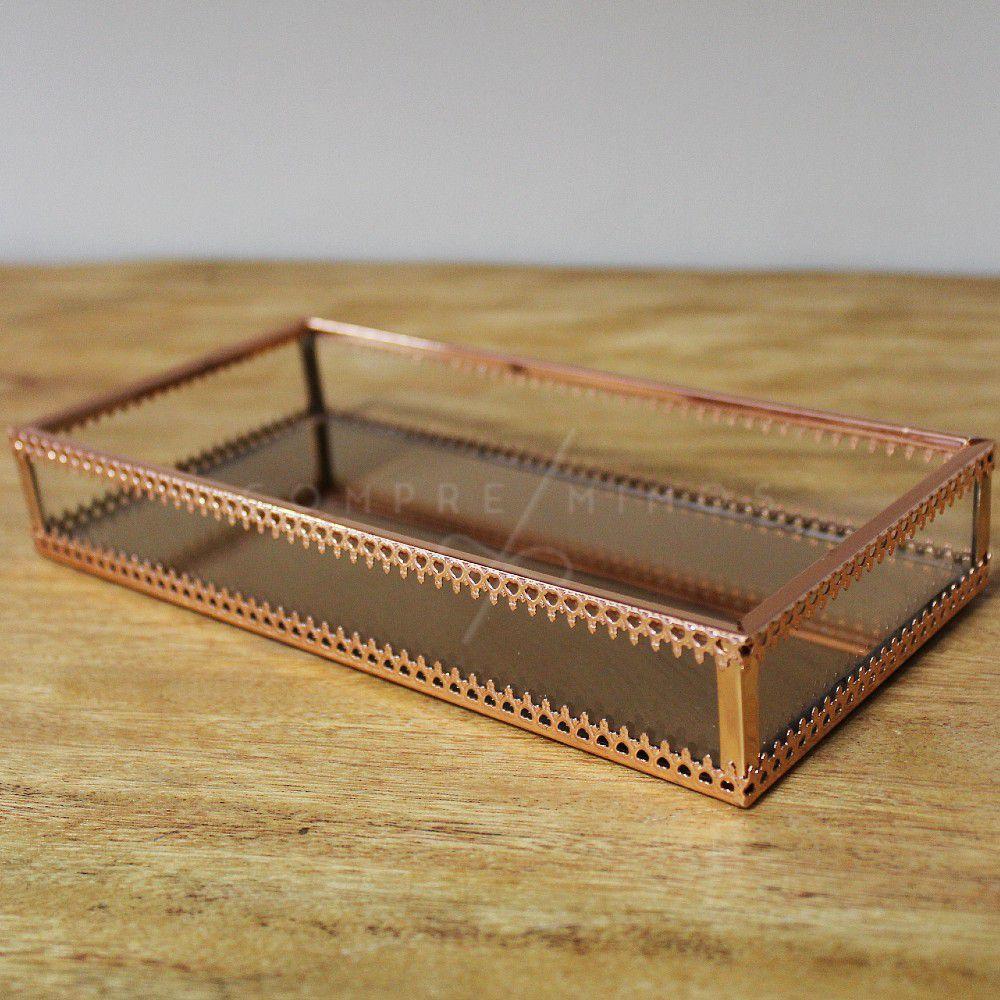 Bandeja Decorativa Retangular Dourada com Espelho e Vidro - Rose Gold e Prata - 10x20cm