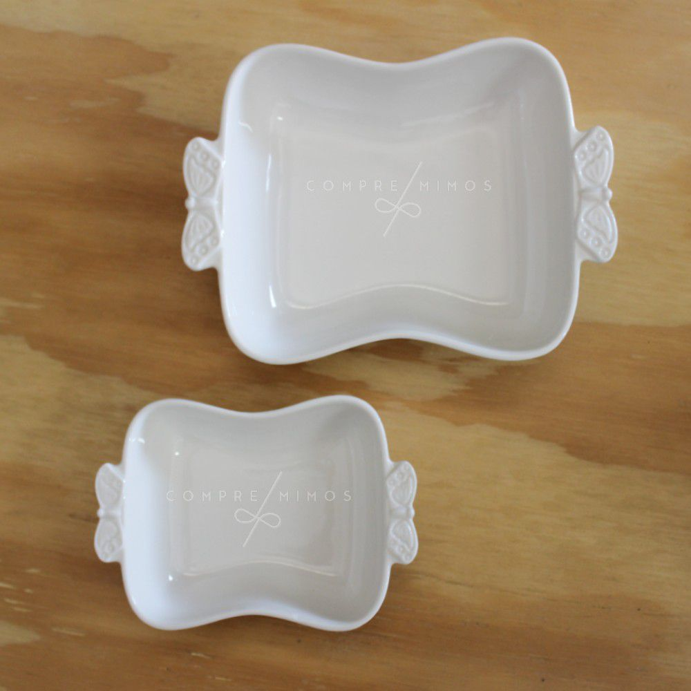 Bandeja/Porta Joias de Porcelana com Alça de Borboleta - Coleção Basics