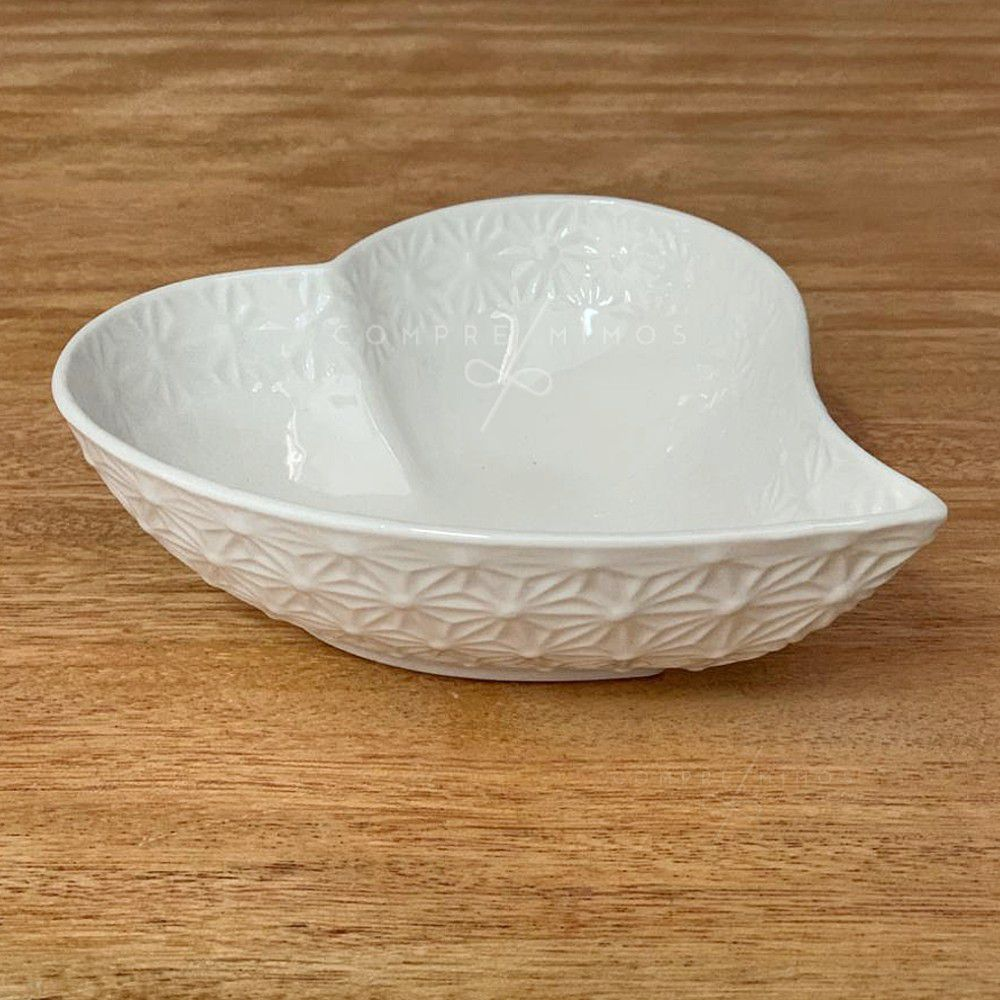 Bowl de Coração com Relevo Interno e Externo - 13x11,5x4cm