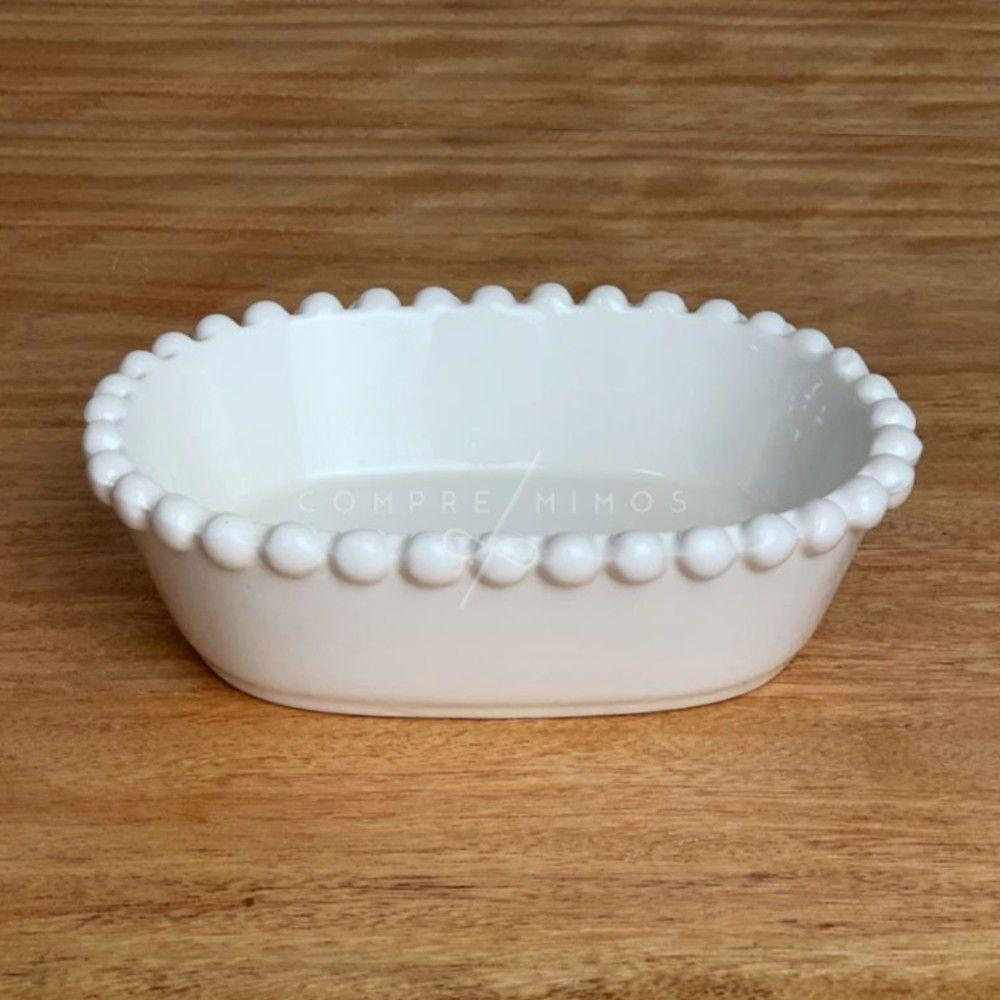 Bowl de Cerâmica Oval com Borda em Poá  - 14,5x11x4cm