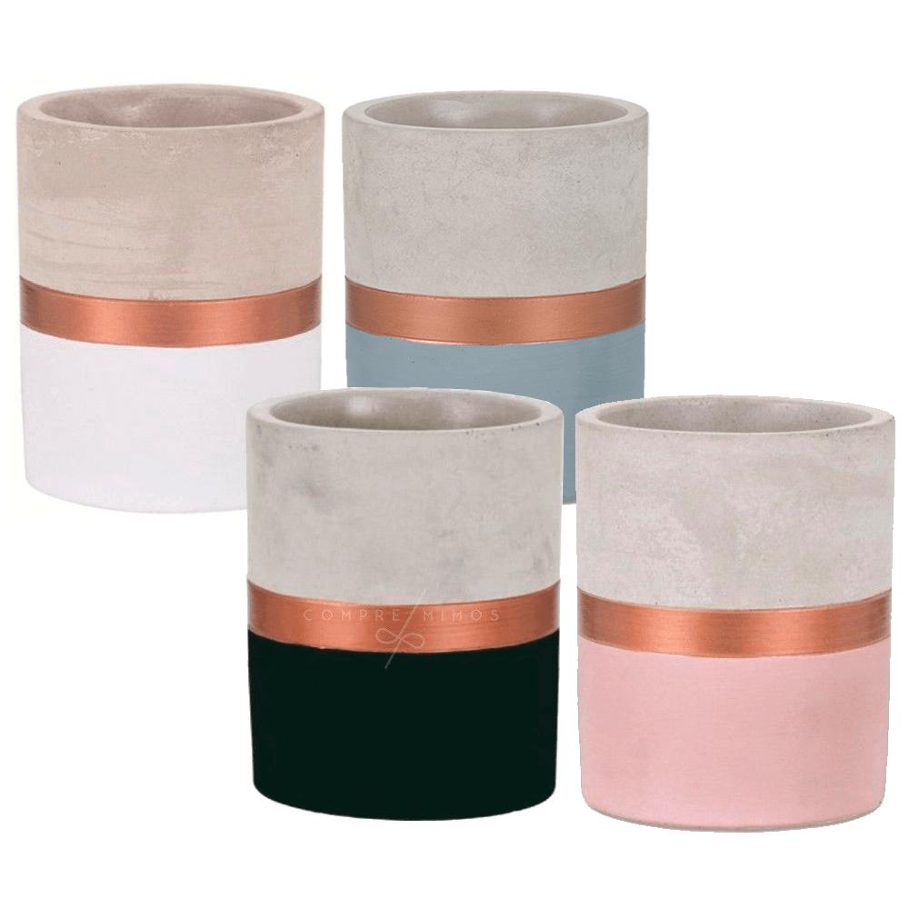 Cachepô Cimento Faixa Rose Gold - Unidade - Preto, Branco, azul ou Rose - P,M,G