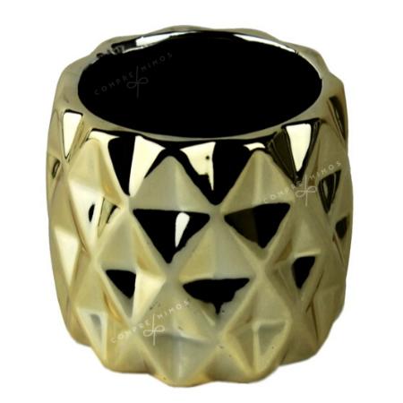Cachepô Lozenge Cromado - Prata, Dourado ou Rose Gold