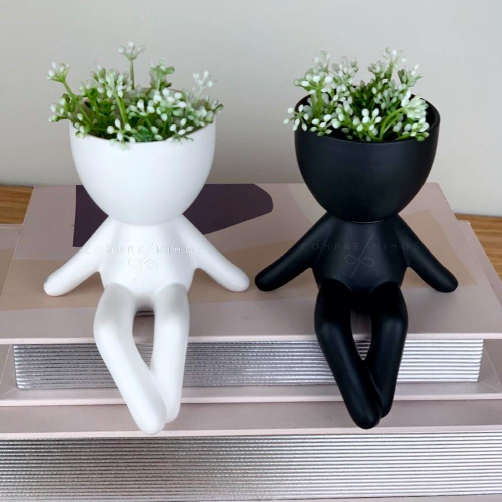Cachepô Robert - Porcelana Fosco - Black e White