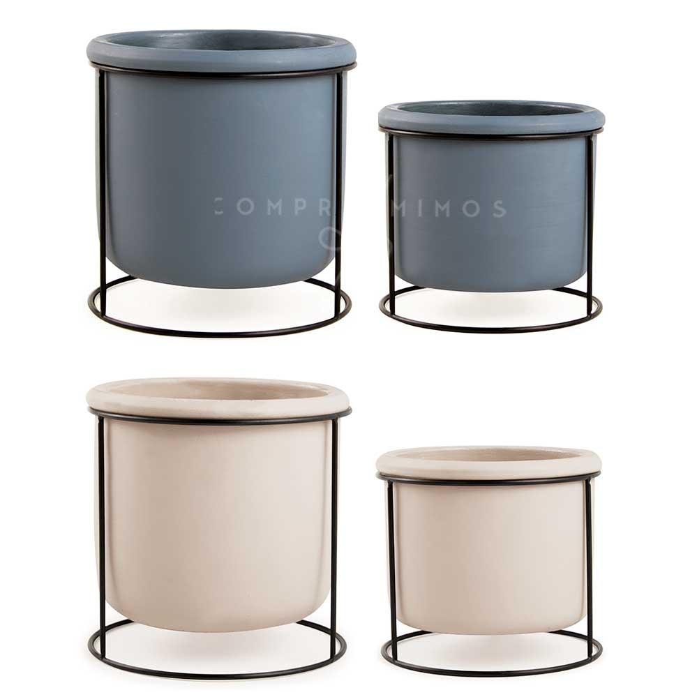 Cachepô/Vaso Cilíndrico de Cimento com Suporte em Metal - Grafite ou Off White - Unidade