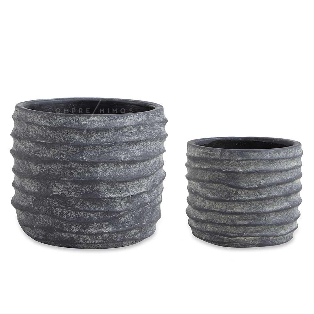 Cachepô/Vaso em Cimento Relevo Rustic - P ou M