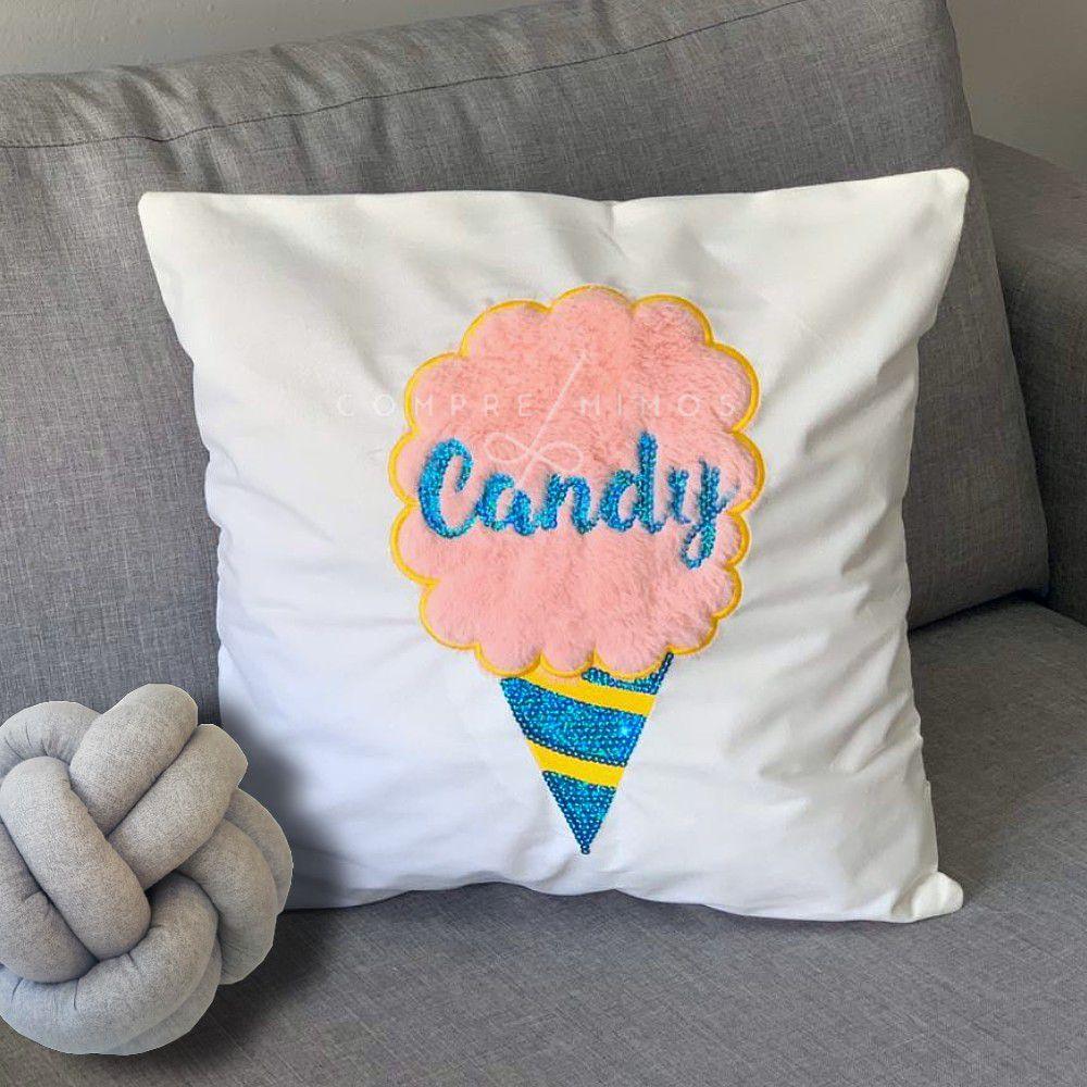 Capa Para Almofada Candy - Pelinho e lantejoulas- 44cm