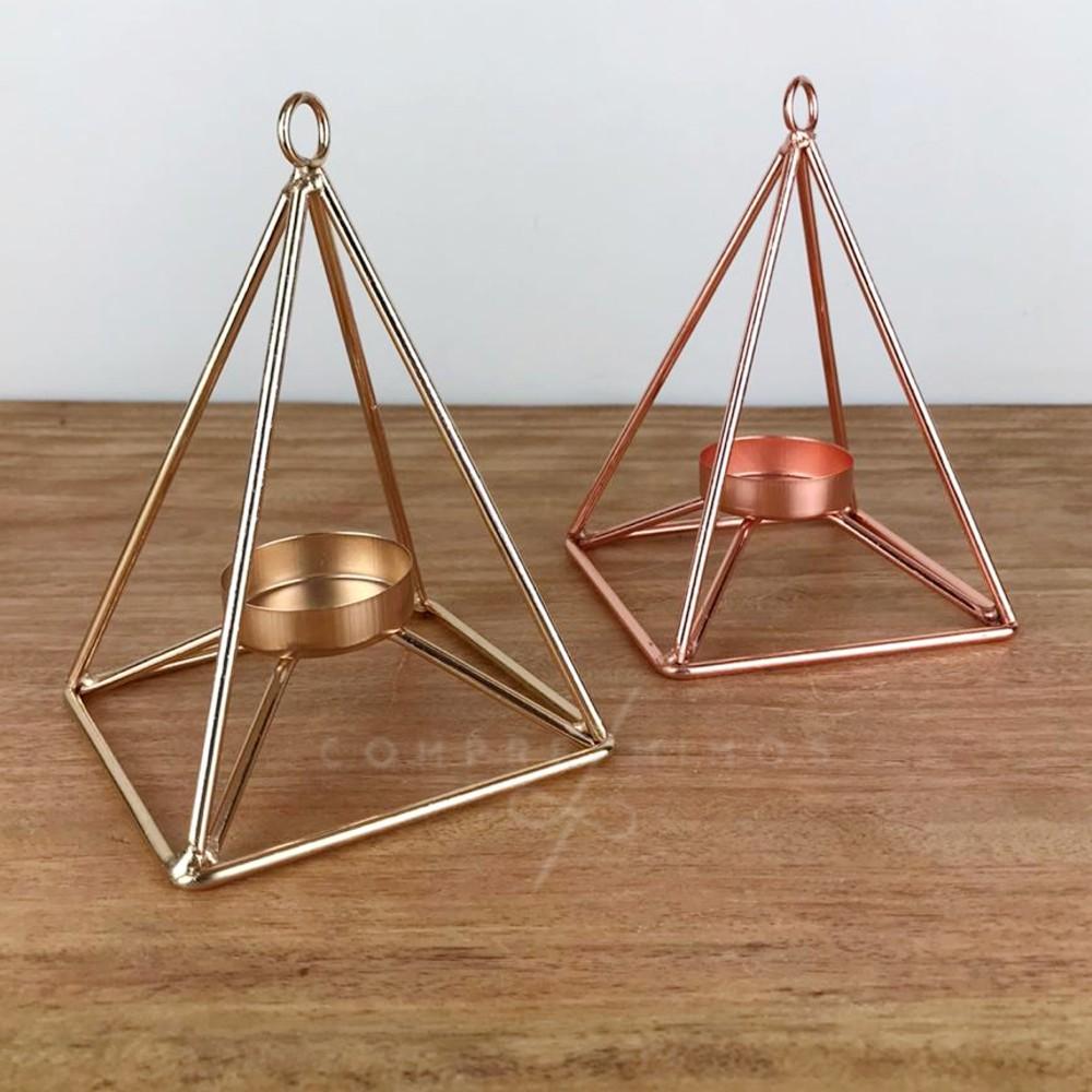 Castiçal/Porta Vela Aramado - Dourado e Rose Gold