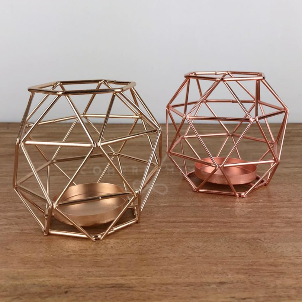 Castiçal/Porta Vela Diamante Aramado - Dourado e Rose Gold