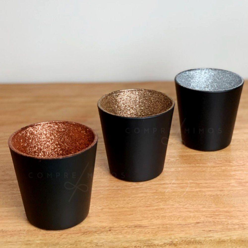 Castiçal/ Porta Vela - Vidro Black com Glitter no Interior nas Cores Prata, Dourado, e Rose Gold
