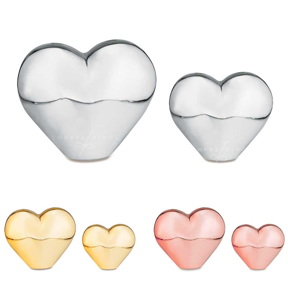 Coração Cromado em Cerâmica - P e G