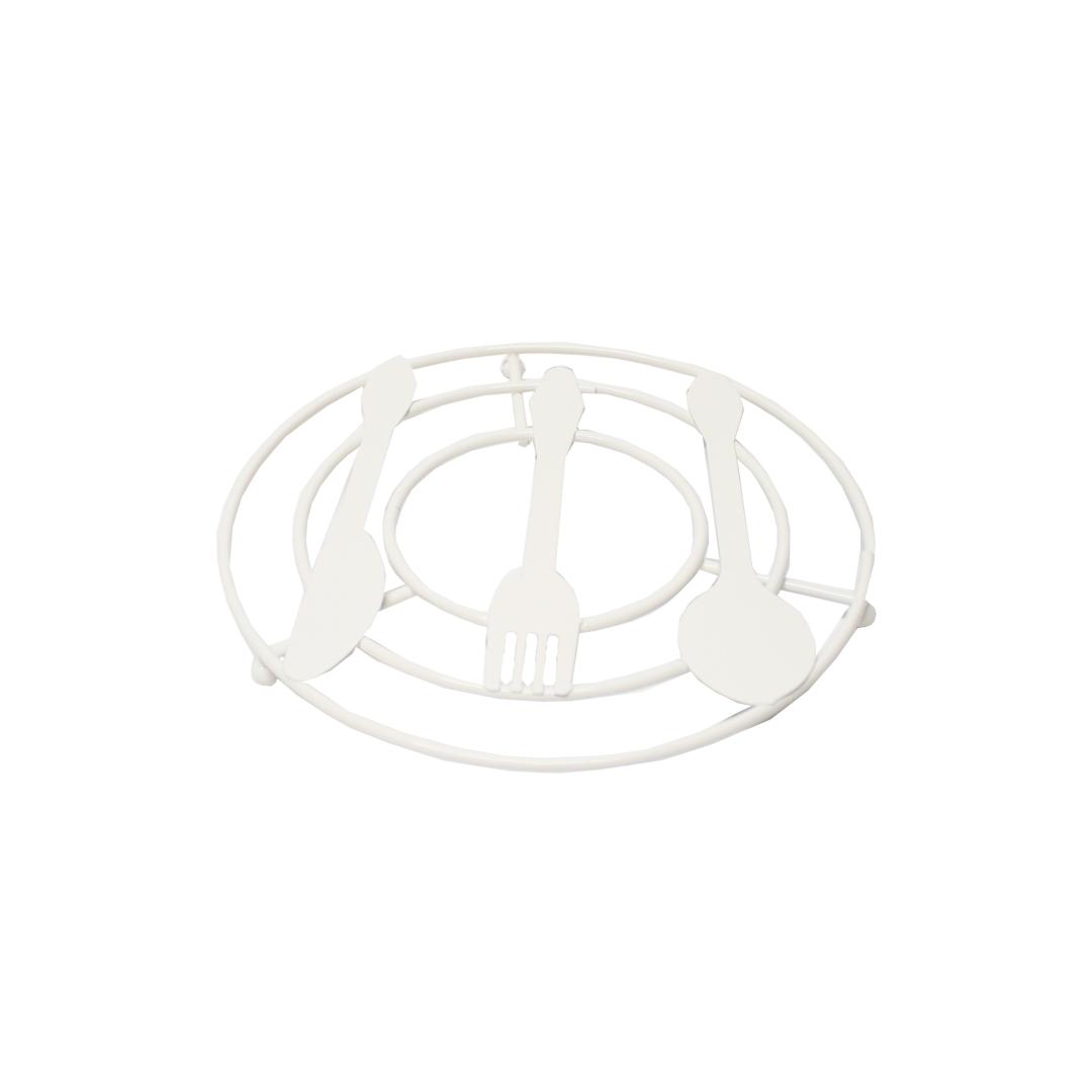 Descanso de Panelas - Coleção Talheres - Branco - 20x20cm - UN
