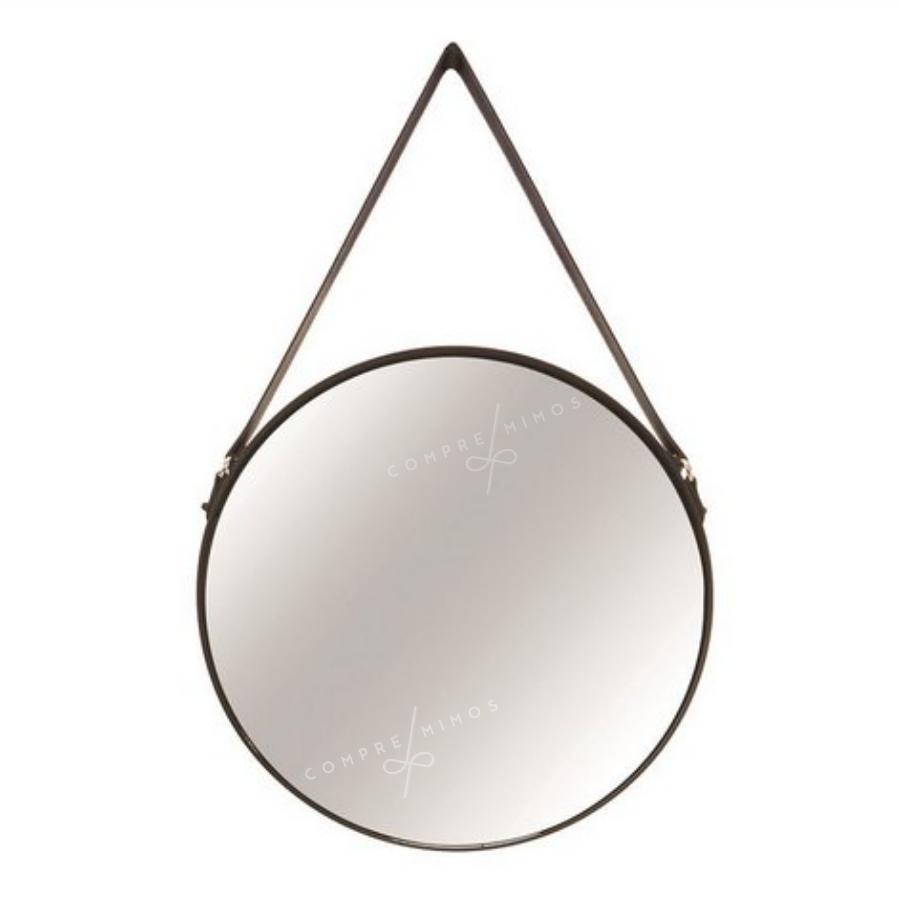 Espelho Adnet Com Alça em Corino - Rosê Gold, Dourado e Preto - 45cm